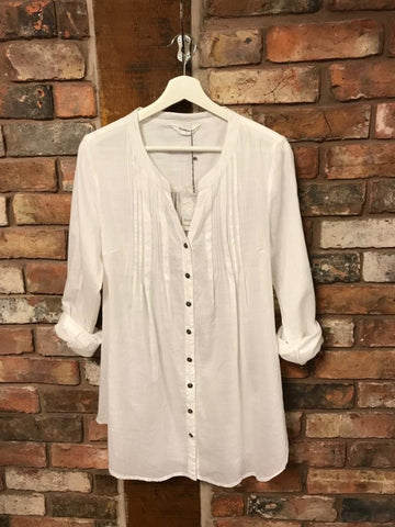 White organic cotton shirt with roll up sleeves