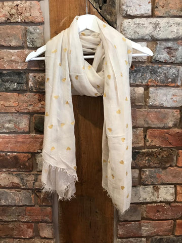 Cream scarf with gold hearts