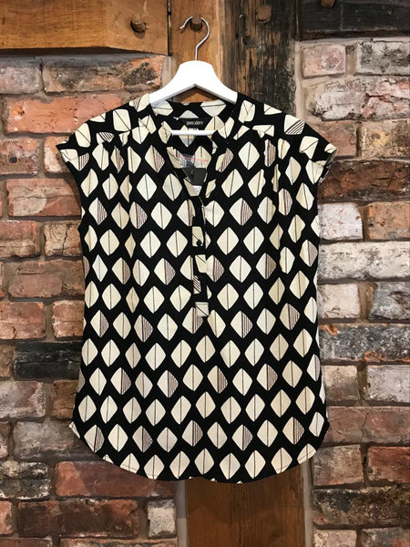 Black cream diamond top with mandarin collar at women's clothing shop Nantwich