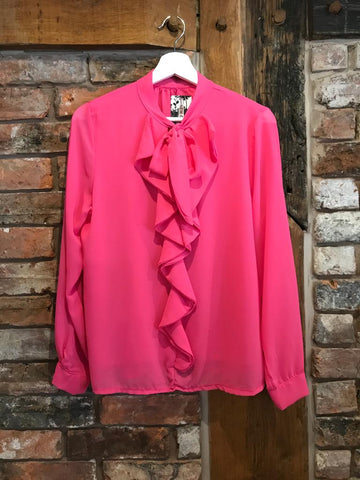 Hot pink pussy bow blouse shirt