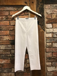 Elasticated stretchy cropped white trousers