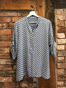 Denim blue polka dot blouse
