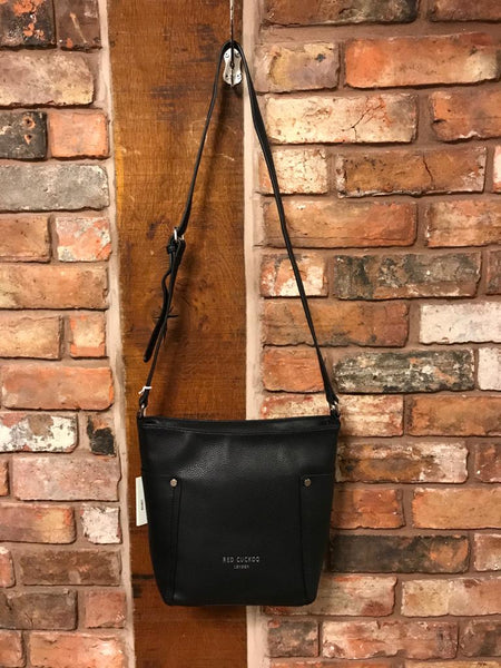Black cross body faux leather handbag