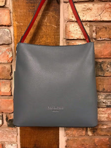 Slate grey handbag with red trim