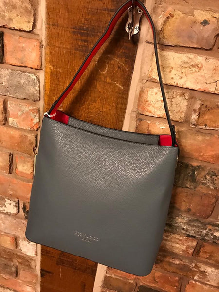 Grey large faux leather handbag