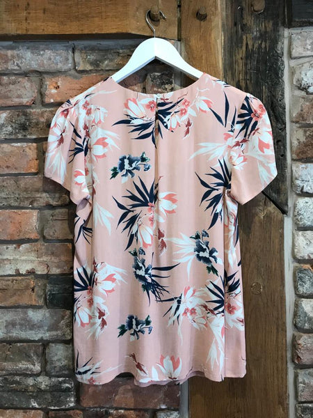 Blush pink floral blouse at Nantwich ladies clothes shop