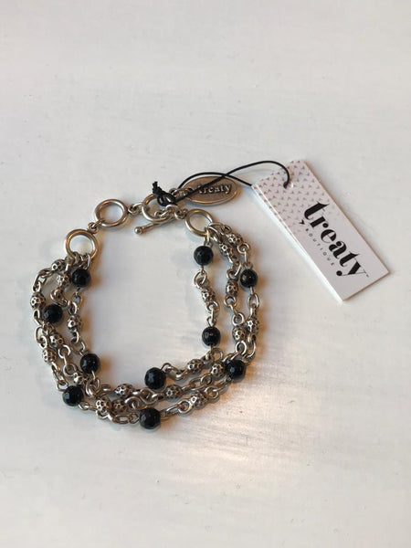 Silver and black layered bracelet
