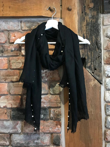 Black scarf with pearl details