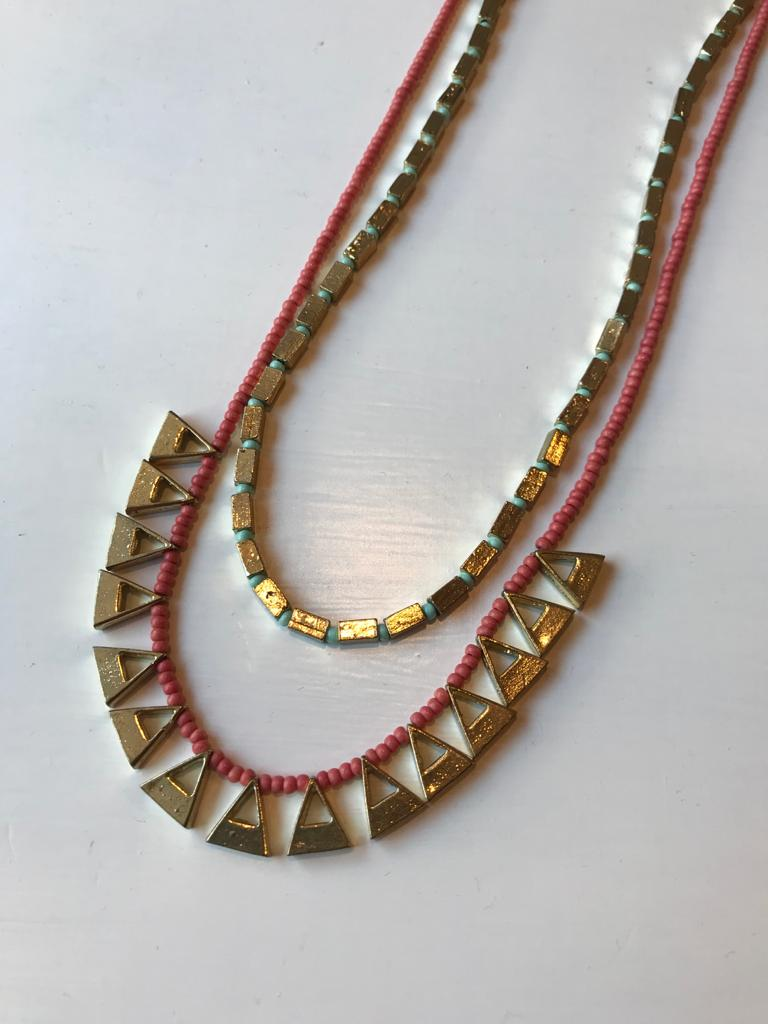 Coral & gold fair trade neckalce