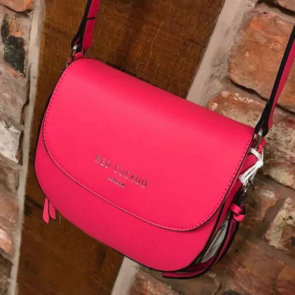 Hot pink faux leather bag