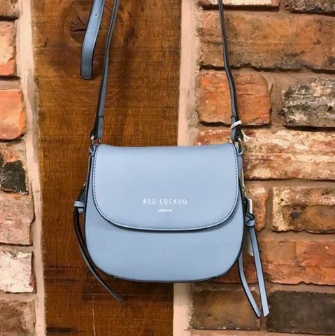 Blue cross body faux leather bag
