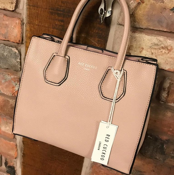 Soft pink faux leather bag