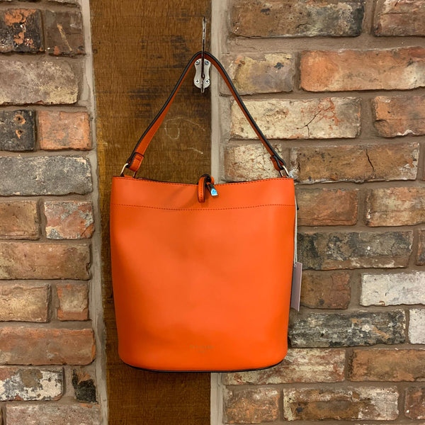 Coral vegan leather bucket bag