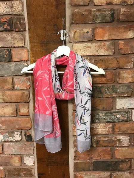 Coral and cream leaf print scarf
