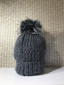 Grey faux fur pom pom hat
