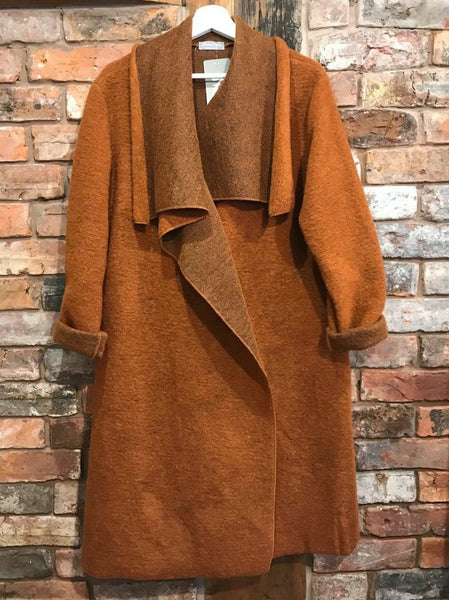 Women's rust orange long coat Nantwich