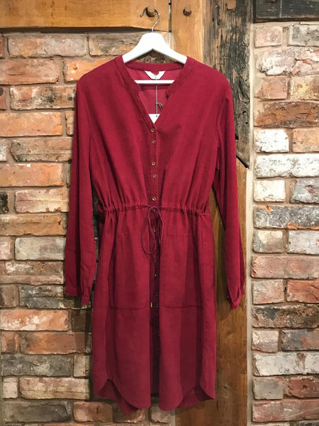 Berry corduroy shirt dress