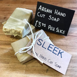 Hand cut argan olive oil based soap plastic free