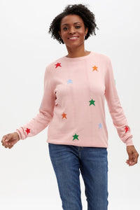 Ladies pink jumper with multi coloured stars