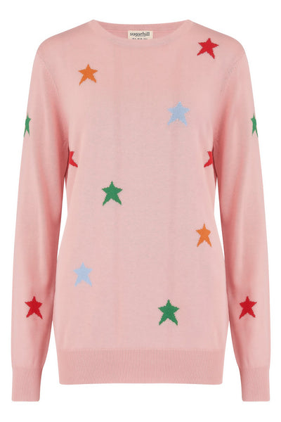 Women's pink sweater with multicoloured stars