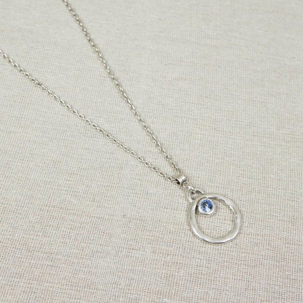 Silver necklace with blue crystal Nantwich