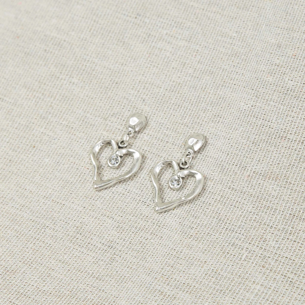 Silver heart earrings with clear crystal