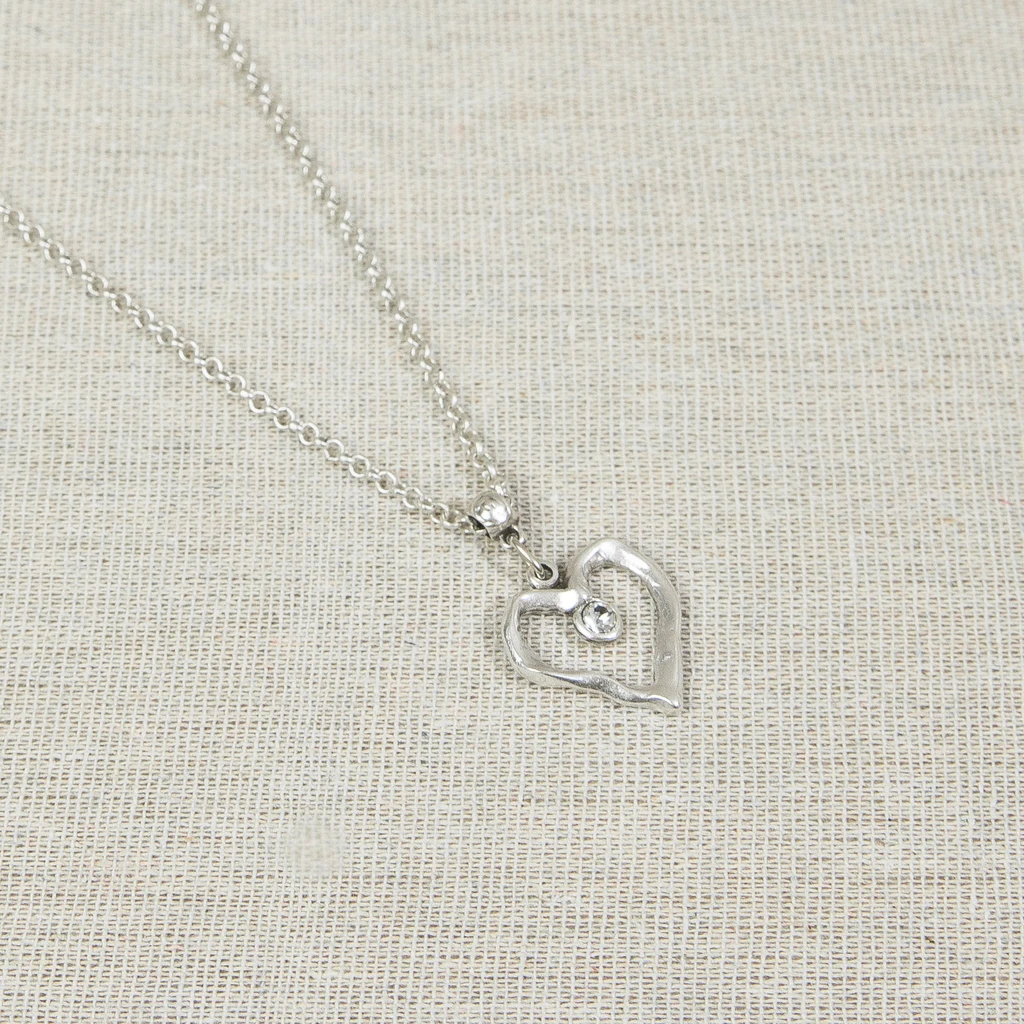 Silver heart necklace with clear crystal