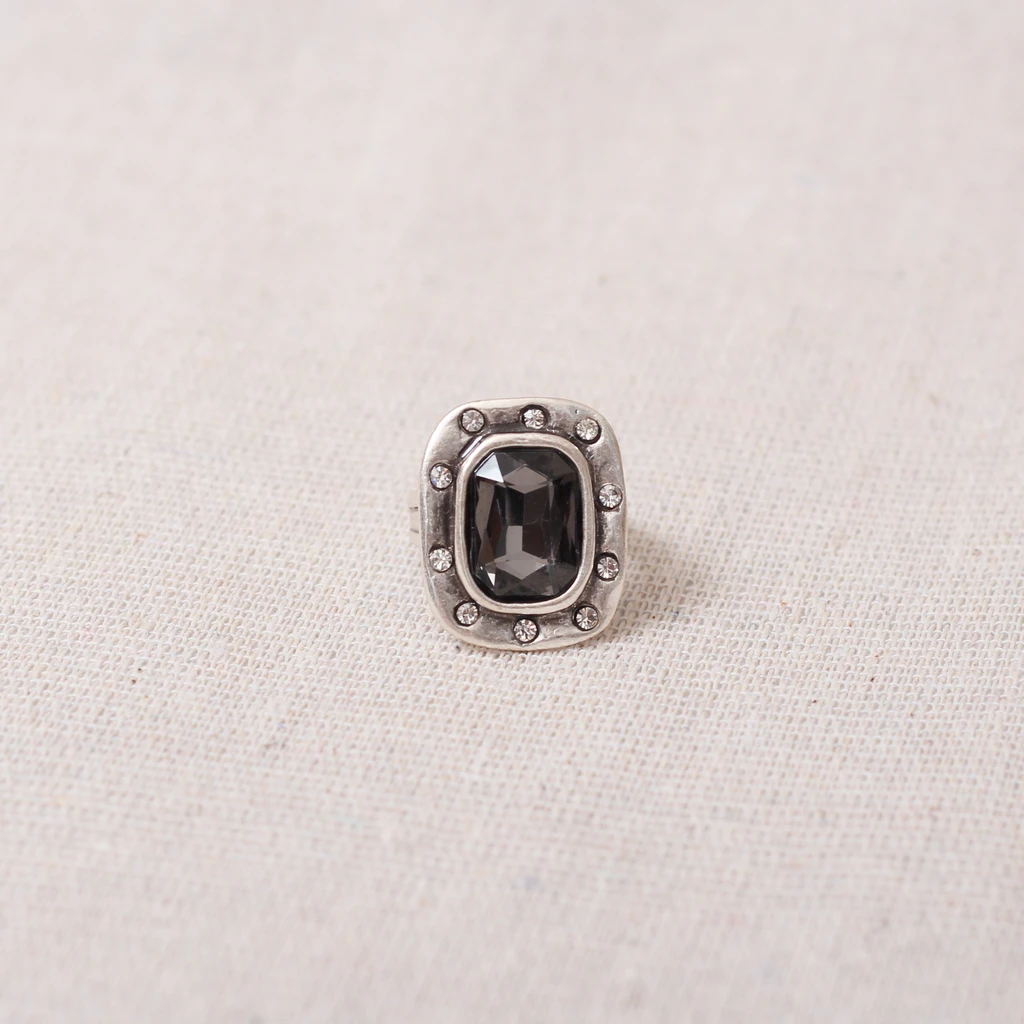 Statement ring with large grey crystal