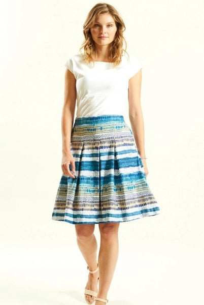 Cotton pleated blue skirt with pockets