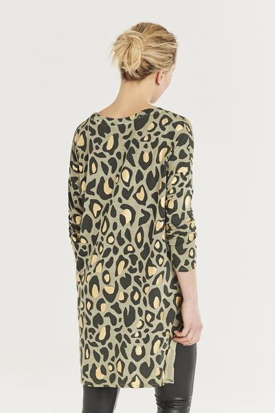 Green and gold animal print tunic