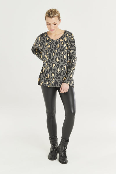 Grey and gold animal print top