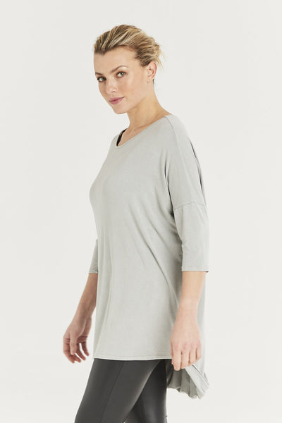 Ladies grey jersey top with open back detail