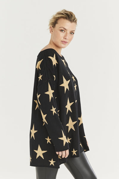 Metallic gold star sweater gift Christmas