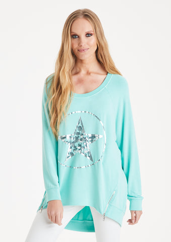A Postcard from Brighton sweater jumper with circle star design in aqua blue - available at Sleek Boutique Nantwich women's apparel