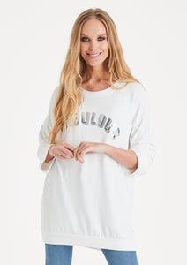 Fabulous slogan sweater white