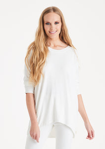 Soft jersey sweater top in white
