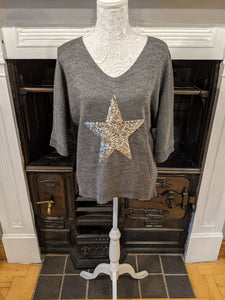 Women's grey sequin star jumper