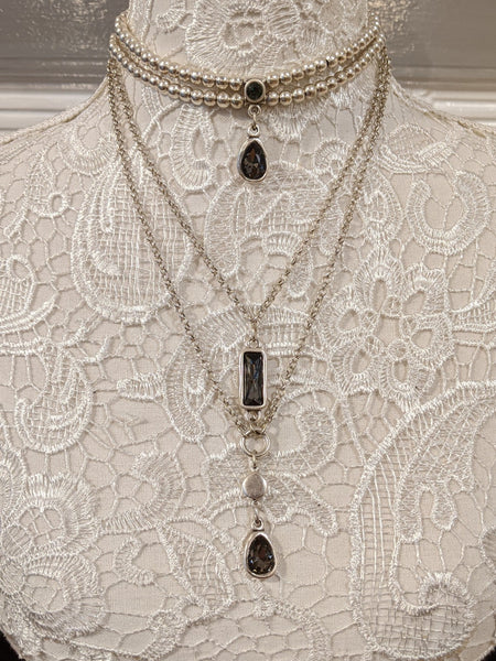 Siler choker and triple layered necklace with grey crystals