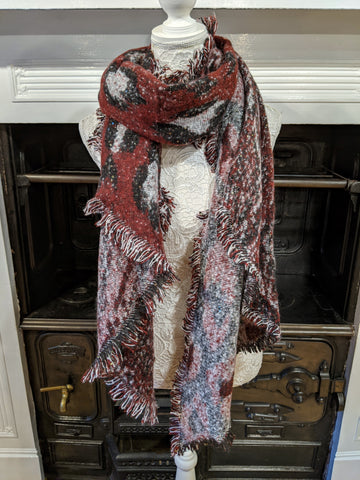 Burgundy red animal print chunky knit scarf