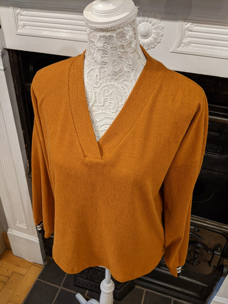 Womens tan v-neck sweater