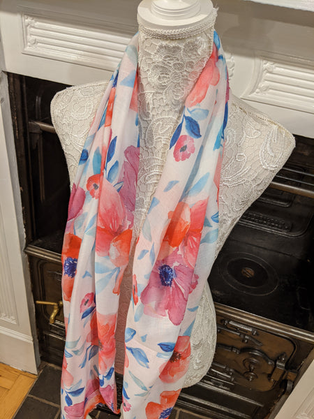 Cream scarf with pink floral print