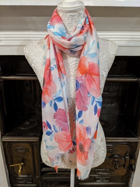Womens watercolour print floral scarf