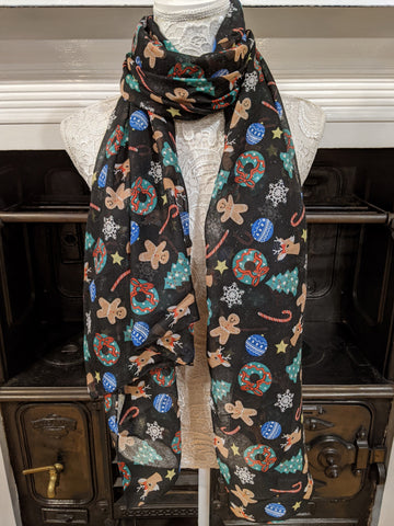 Black scarf with colourful Christmas glittery print
