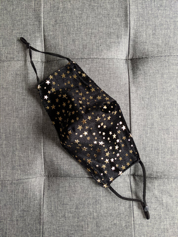 Black and gold star face mask