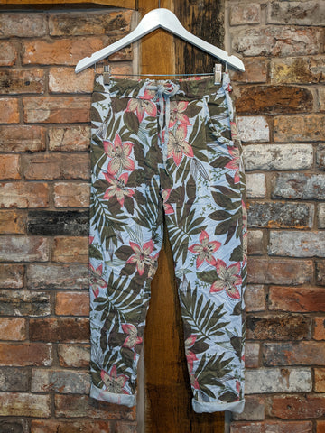 khaki green floral print women's trousers
