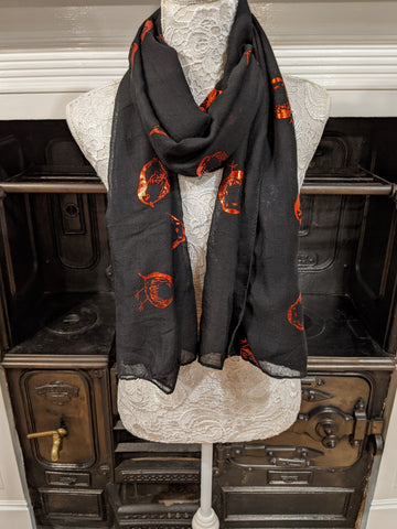 Black scarf with metallic robin print