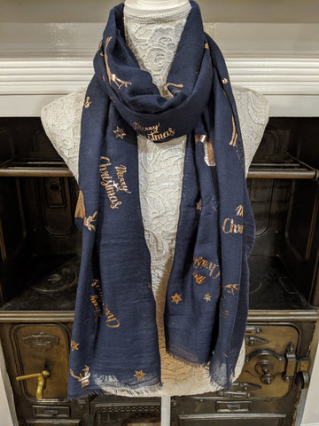 Navy metallic Christmas print scarf