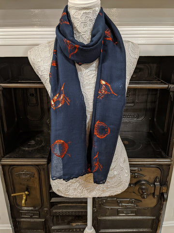Navy scarf with metallic red robin print