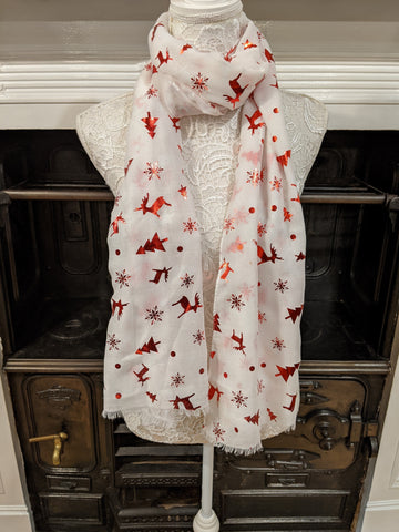White scarf with red metallic Christmas print