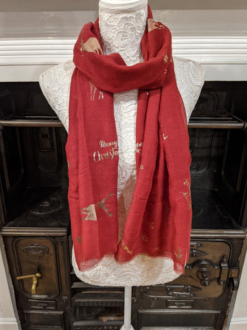 Red ladies Christmas scarf